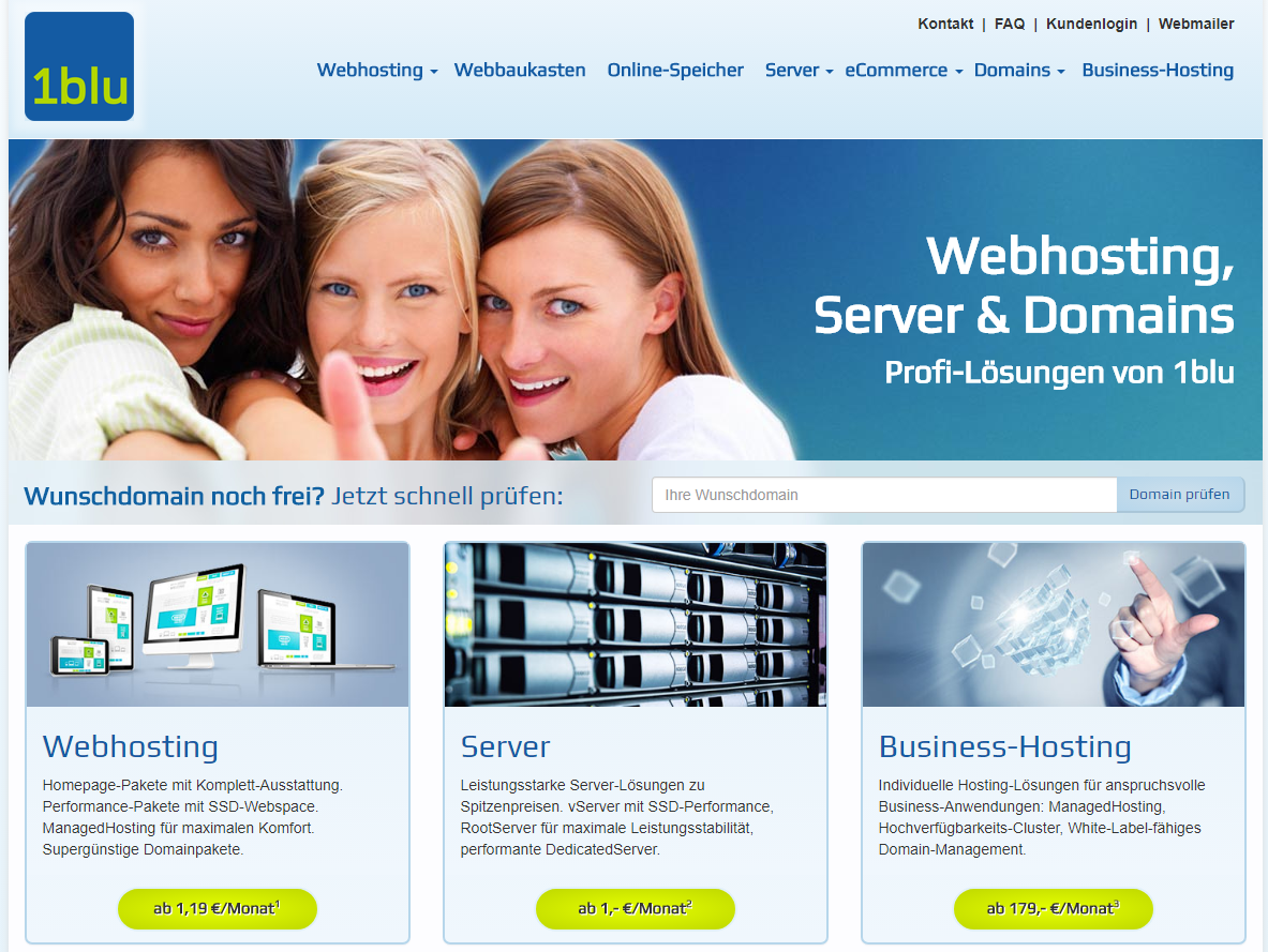 1blu Webhosting Screenshot